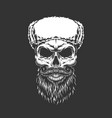 monochrome skull in ushanka hat vector image