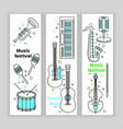 music festival banner line art set vector image