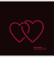 neon glowing heart vector image vector image