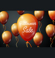 orange ballons with inscription halloween sale vector image