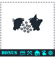 piggy icon flat vector image vector image