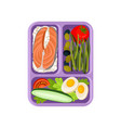plate with three sections rice with a piece of vector image vector image