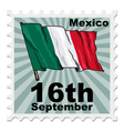 post stamp of national day of Mexico vector image