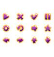 purple collection set glass buttons for ui vector image vector image