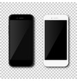 realistic black and white mobil phone smartphone vector image vector image