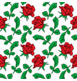 red rose bud and branch with green leaves vector image