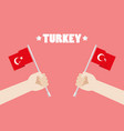 republic day turkey with hands holding up vector image