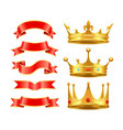 ribbons and crowns icons set vector image vector image