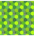 Seamless pattern patchwork green fabrics hexagon vector image