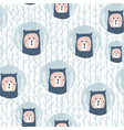 seamless pattern with cute bear in christmas vector image