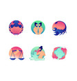set flat icons zodiac with virgo libra pisces vector image