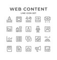 set line icons of web content vector image