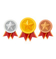 set medals with red ribbons and star shapes vector image