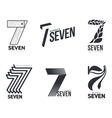 Set of black and white number seven logo templates vector image vector image