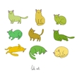 Set of different doodle poses cat Pets vector image vector image