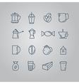Set of line icons Coffee Turk French press cup vector image