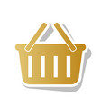 shopping basket sign golden gradient icon vector image vector image
