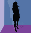 singer black silhouette in the room vector image