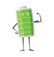 strong battery man standing and shows his muscles vector image