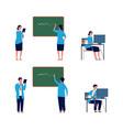 teacher activities male female professors flat vector image vector image