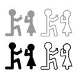 the man makes an offer woman stick icon set grey vector image vector image
