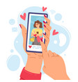 two hands holding phone cartoon girl smartphone vector image