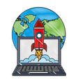 world laptop rocket launch start up innovation vector image