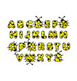 yellow ladybug alphabet english abc animals vector image vector image