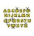 yellow ladybug alphabet english abc animals vector image