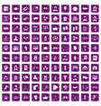 100 team icons set grunge purple vector image vector image