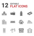 12 building icons vector image vector image