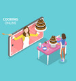 3d isometric flat concept online cooking vector image vector image