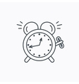 Alarm clock icon Mechanical retro time sign vector image