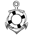 anchor and ring buoy vector image vector image