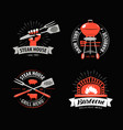 bbq barbecue grill logo or symbol labels for vector image vector image