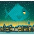 big fish flies through sky vector image vector image