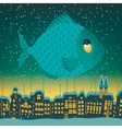 big fish flies through the sky vector image vector image