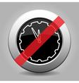 black metallic button - last minute clock ban icon vector image vector image
