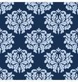 Blue seamless damask pattern vector image vector image