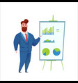 business man at chart board annual report vector image