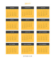 Calendar 2017 in Spanish simple modern vector image