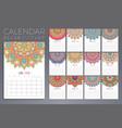 calendar 2018 vintage decorative elements vector image vector image