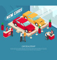car dealership leasing composition vector image vector image
