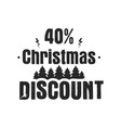 christmas discount typography overlay with trees vector image vector image