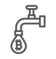 coin faucet line icon finance and money vector image vector image