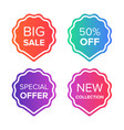 colorful sale tags and badges set big sale vector image vector image