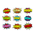 comic book speech bubbles crash and blast sounds vector image