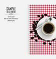 cup of coffee with coffee beans and spoon vector image vector image