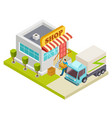 delivery bread to a small shop isometric vector image vector image