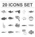 different types of fish monochrome icons in set vector image vector image